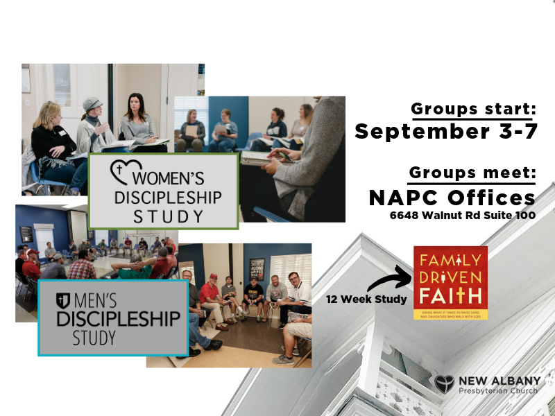 Join our Men's and Women's Discipleship Groups today.